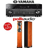 Yamaha AVENTAGE RX-A760BL 7.2-Channel Network A/V Receiver + (1) Pair of Polk Audio TSi 300 Floorstanding Loudspeakers (Cherry) - Bundle