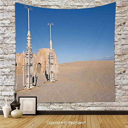 Tapestry Wall Blanket Wall Decor Illustration of Town of Famous Movie Set on The Planet Fantasy Space Wars Theme Home Decorations for Bedroom(W39xL59)