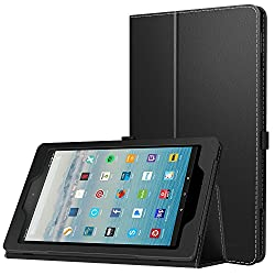MoKo Case for All-New Amazon Fire HD 10 Tablet (7th Generation, 2017 Release) - Slim Folding Stand Cover with Auto Wake / Sleep for Fire HD 10.1 Inch Tablet, BLACK