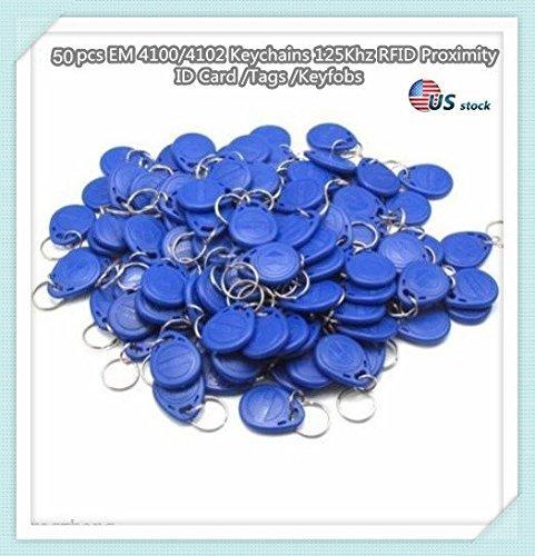- 50 pcs EM 4100/4102 Keychains 125Khz RFID Proximity ID Card Token Tags Key Fobs