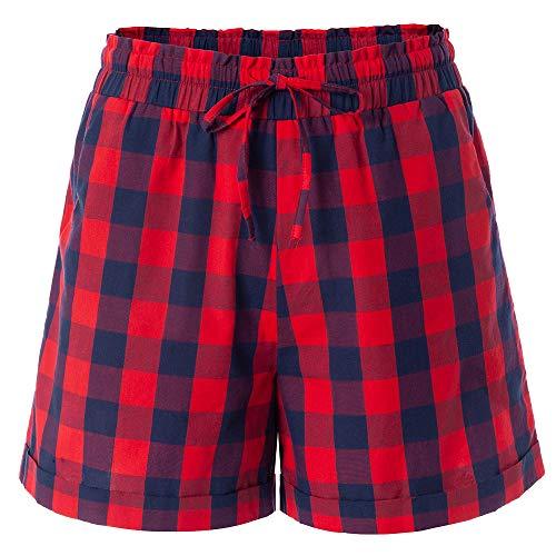 - Women's Drawstring Elastic Waist Casual Comfy Cotton Plaid Beach Shorts Red Blue Red Blue Tag L-US 6-8