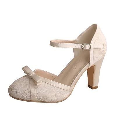 22446fb9f Wedopus WDF7065 Women's Mary Jane Closed Toe Bow Court Shoes Block Heel  Lace Wedding Bridal Shoes