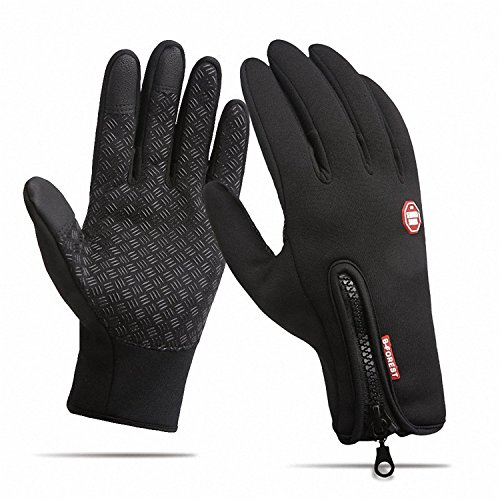 CYG&CL Outdoor Winter Touchscreen Waterproof Warm Adjustable Size Gloves for Running, Hiking, Clamming, Skiing, Cycling, Driving for Men & Women (Large, Black)