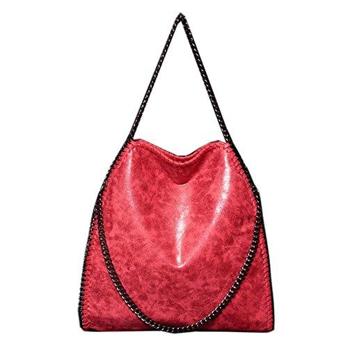 HAINES Dame Tasche mit Kette Schultertasche Shopper Henkeltasche PU lässigen Kettentasche,Schwarz Rot