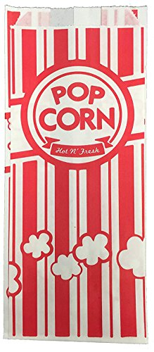 URPARTY Paper Popcorn Bags, 2 oz, Red & White, 50 Piece -