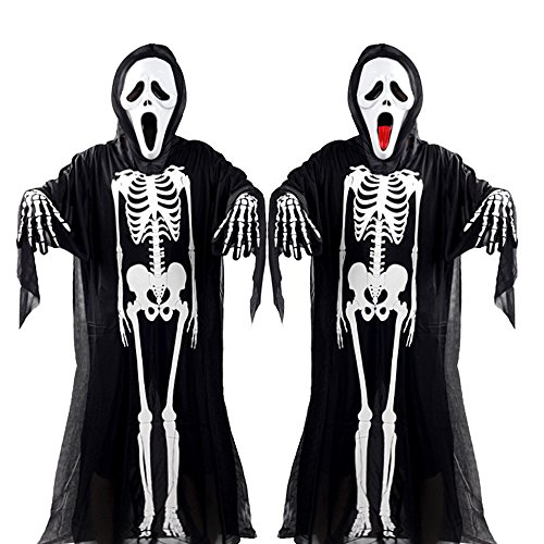 Halloween Costume-Scream Mask+Scary Clothes+Skull Gloves-for Adult Kids