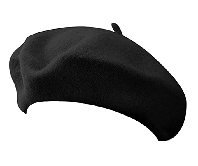 Amazon.com  Classic French Artist 100% Wool Beret Hat Black  Clothing 745fe9a2d45