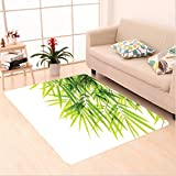 Nalahome Custom carpet r Bamboo Leaf Illustration Icon for Wellbeing Health Fresh Purity Tranquil Art Print Green White area rugs for Living Dining Room Bedroom Hallway Office Carpet (5' X 7')