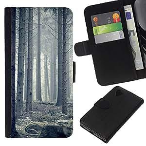 Protector de cuero de la PU de la cubierta del estilo de la carpeta del tirón BY RAYDREAMMM - LG Nexus 5 D820 D821 - Blanca Forrest