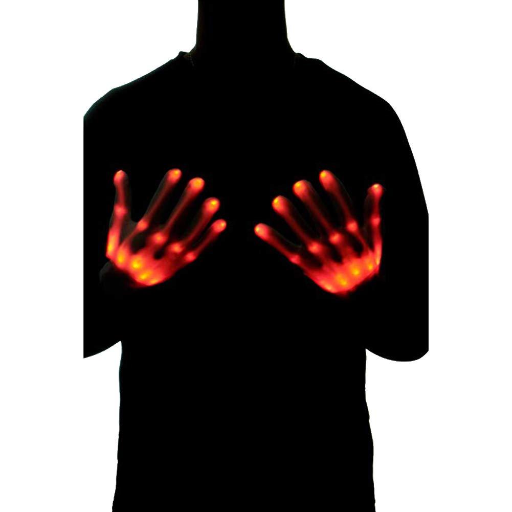 Le yi Wang You 2Pcs Chic LED Light Up Skeleton Hand Gloves Halloween Christmas Costume Decor