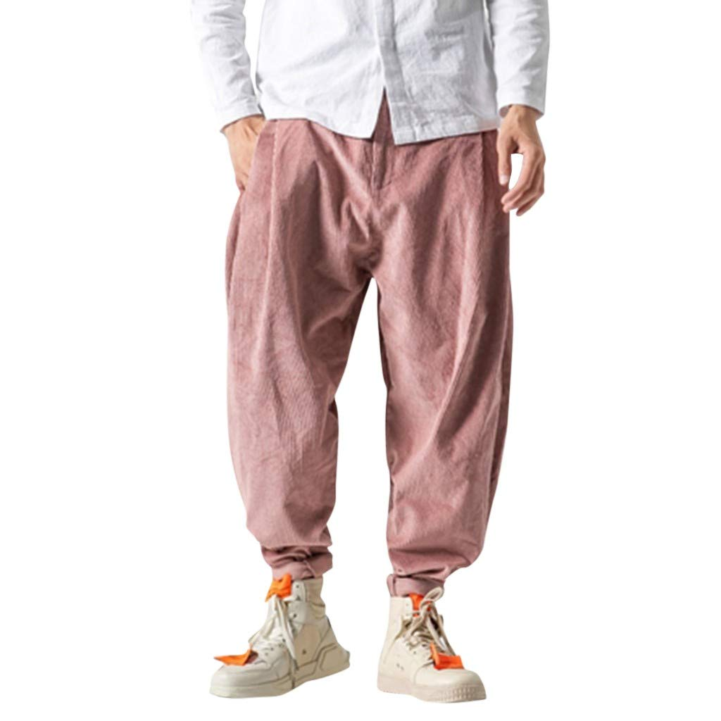 Aleola Men's Casual Retro Trousers Large Pure Color Pant (Pink,XXXXL) by Aleola_Men's Pants
