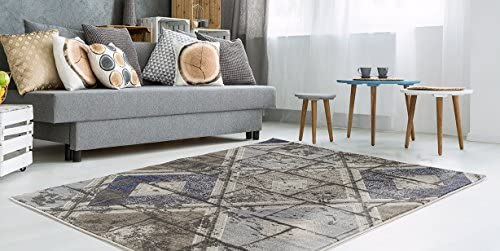ADGO Ibiza Collection Modern Distressed Shades Geometric Diamond Design Jute Backed Vivid Color Soft Pile Carpet Thick Indoor Kitchen Bedroom Floor Area Rug, Living Dining Room Navy Brown, 5 3 x 7