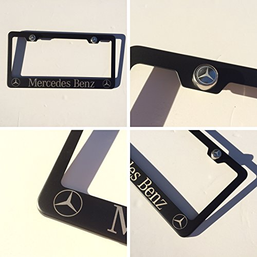 Black Powder Coated Mercedes Benz Laser Engraved Stainless Steel License Plate Frame with Logo Engraved Steel Screw Cap Set