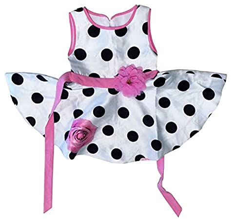 Floral Polka Dot Girl Dress – Adorable Sundress with Matching Headband/Hair Bow – Baby Girl and Toddler Outfit – 100% Silky Smooth (3 - 4 Years, Pink/White/Black Polka-dots)