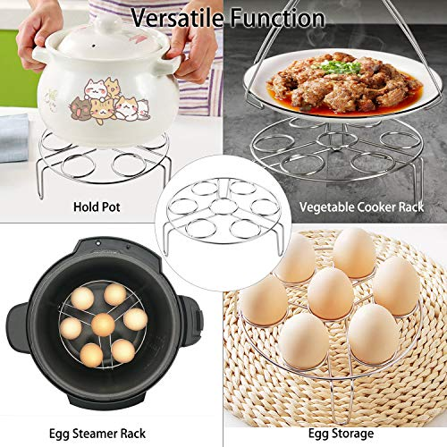3pcs Accessories Set Kit Compatible with Instant Pot 5 6 8 Quart Pressure Cooker Accessory Silicone Egg Bites Mold+Egg Steamer Rack+7inch Cake Pan Mold Insert Pans by Sonyabecca (Image #6)