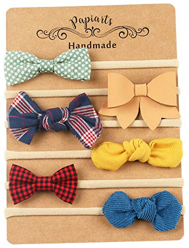 Baby Girl Headbands and Bows, Assorted 6 Packs of Bow-Stretch Headband for Newborn Toddler Girls