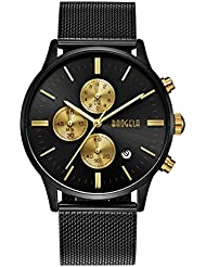 BAOGELA Mens Unique Analog Wrist Watch Big Face Gold Dial Black Stainless Steel Mesh Band Classic Waterproof...