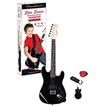 Spectrum Ail 64J Junior Size 34-Inch Electric Guitar with Bonus Mini Amplifier, Black