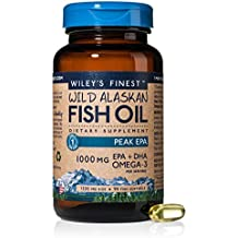 Wiley's Finest Peak EPA 1000mg EPA + DHA Omega-3 Per Softgel - High Potency Wild Alaskan Fish Oil IFOS Certified Fish Gelatin Capsules 90 Count