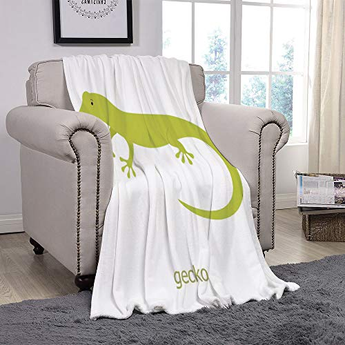 SCOCICI Super Soft Throw Blanket/Reptiles,Cute Australian Lizard Illustration Smiling Kids Mascot Safari Theme Symbol Home,Pistachio White/for Couch Bed Sofa for Adults Teen Girls Boys