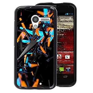 A-type Arte & diseño plástico duro Fundas Cover Cubre Hard Case Cover para Motorola Moto X 1 1st GEN I (Blue Orange Abstract 3 D Black Pattern)