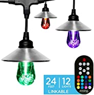 Enbrighten Seasons LED Warm White & Color Changing Café String Lights with Stainless Steel Lens Shade, Bla