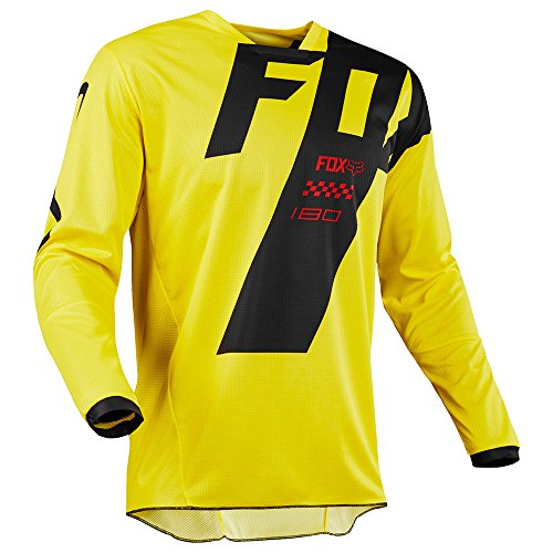 Youth Off Road Mens Jerseys - Fox Racing 180 Mastar Youth MX Offroad Jersey Yellow XL