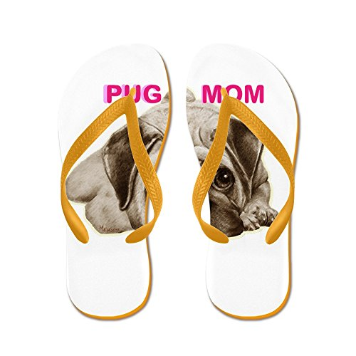 CafePress Pug Mom - Flip Flops, Funny Thong Sandals, Beach Sandals Orange