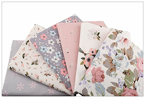 6pcs/lot, New Floral Series Twill Cotton Fabric,Patchwork Cloth,DIY Sewing Quilting Fat (Gold Kona Bay)