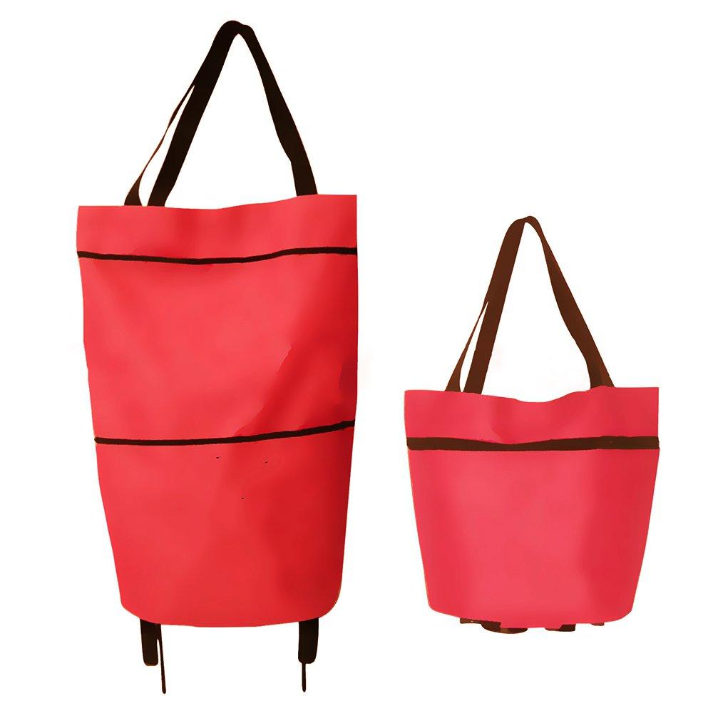 Finoki leichte Einkaufswagens Foldable Einkaufstasche Mini Einkaufstrolley zufä llige Farbe