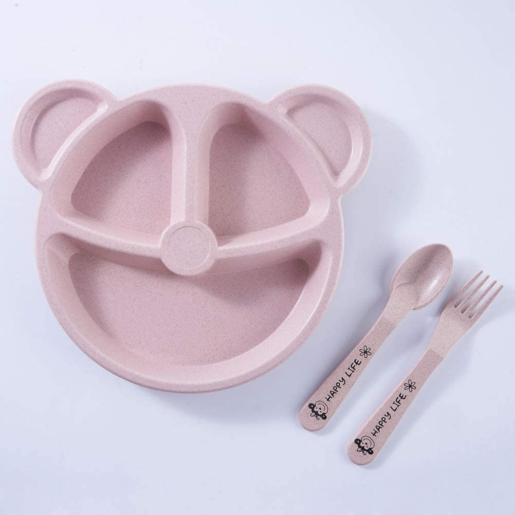UPKOCH Divided Toddler Plates with Spoon and Fork Bear Shape Wheat Straw Dinner Bowl Dishes 3pcs