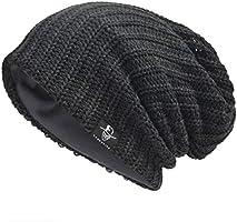 JESSE · RENA Men Beanie Hat Knit Slouchy Baggy Skull Cap CFB306 (Plaid-Navy)