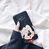 Ultra Slim Soft TPU Black Mickey Mouse Case for iPhone X iPhoneX Unique Shockproof Thin Comfortable Smooth Disney Cartoon Cute Chic Lovely Cool Girls Women Teens Kids Boys