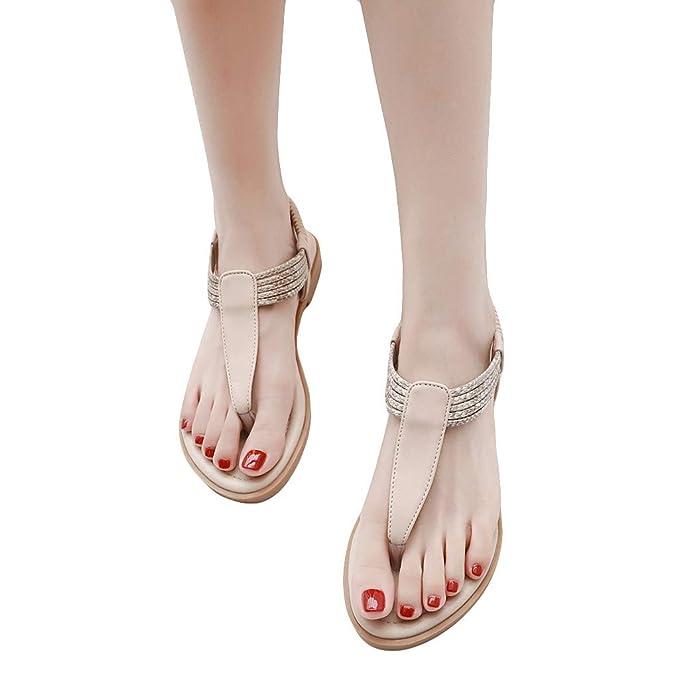 ABsolute Sandalias Mujer Cuña Alpargatas Plataforma Bohemias Romanas Flip Flop Mares Playa Gladiador Verano Tacon Planas Zapatos Zapatillas Negro Beige ...