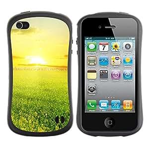 Suave TPU Caso Carcasa de Caucho Funda para Apple Iphone 4 / 4S / Green and sunset / STRONG
