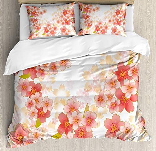 Ambesonne Floral Duvet Cover Set, Japanese Sakura Flowers Cherry Blossoms in Vibrant Colors Illustration, Decorative 3 Piece Bedding Set with 2 Pillow Shams, Queen Size, Dark Coral (Cherry Blossom Illustration)