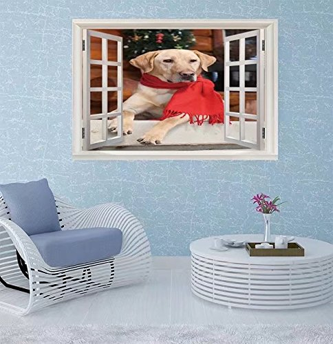 FBAhome Wall Sticker- yellow lab sitting on cabin porch du Window Frame Style Wall Sticker Home Decor (40
