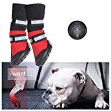 OM Proud Horse Pet Boots Paw Protector with Reflective Straps Anti-Slip Dog Shoes Waterproof Adjustable Boots for Dogs Cat (L)