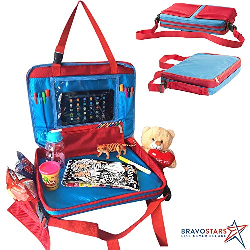 Kids travel tray car seat organizer/ Lap table activity trays for toddlers with multiple pockets and tablet holder/ toddler back carseat play activities with cup holder/ BRAVOSTARS