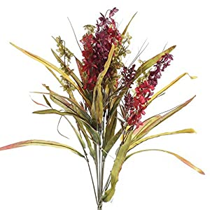 Factory Direct Craft Bountiful Artificial Autumn Red, and Burgundy Delphinium and Wild Grass Floral Bundle for Centerpieces, Designing and Displaying 109
