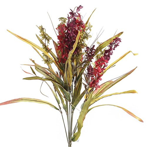 Factory-Direct-Craft-Bountiful-Artificial-Autumn-Red-and-Burgundy-Delphinium-and-Wild-Grass-Floral-Bundle-for-Centerpieces-Designing-and-Displaying