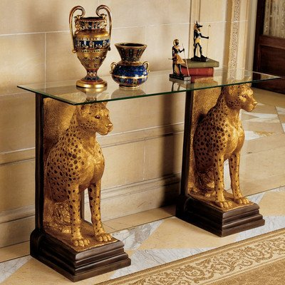 - Design Toscano Royal Egyptian Cheetahs Sculptural Glass Topped Console Table