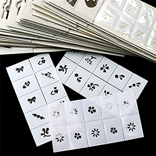 TAROMAING 30pcs Pattern Template Stencil Stickers Set Airbrush Stencils Nail Art Design for Fingers & Toes (Airbrush Art Stencil)