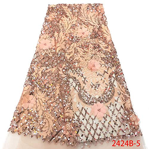 Onion Color African Wedding Lace Fabric Hot Selling French Net Lace Fabric New 3D Embroidered Lace Fabric,Picture 5