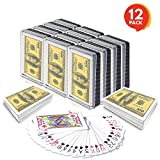 Gamie $100 Bill Playing Cards (Pack of 12 Decks) | Individually Shrink Wrapped | Game Cards for Poker, Kids, Adults | Birthday Party Favor for Girls and Boys/Great Gift Idea