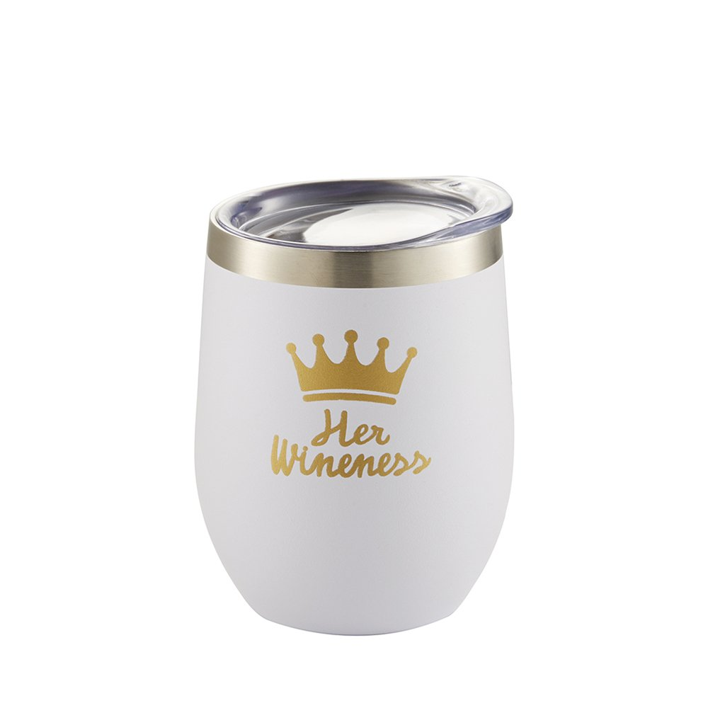Funny Sayings Wine Cups, Stainless Steel Insulated Tumbler With Lid|12 Oz Double Wall Mug|Customized With Rose Gold Cute Words|Unique Queen Birthday Gag Gift For Women With Box (white)