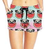 Louise Morrison Pug Dog in Sunglasses Eating Watermelon Women Boardshort Swim Trunks Beach Shorts