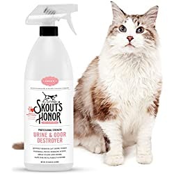 Skout's Honor Professional Strength, All-Natural Cat Urine and Odor Destroyer - Non-Toxic, Biodegradable, and Eco-Friendly - Dissolves Stains & Immediately Eliminates Odors - 32-Ounce Spray Bottle