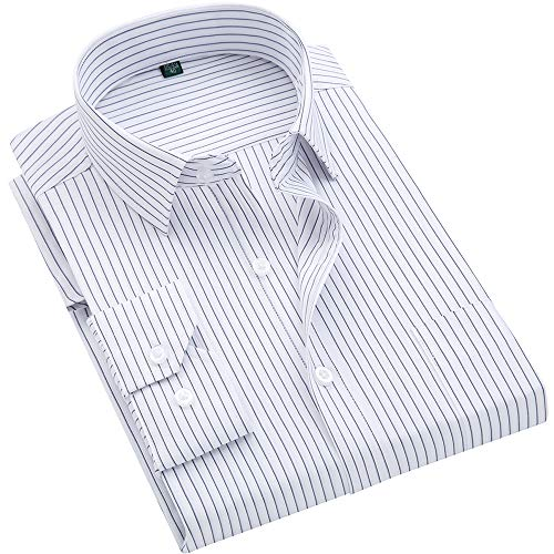 DOKKIA Men's Casual Long Sleeve Vertical Striped Slim Fit Dress Shirts (Vertical Stripe Black White, X-Large)