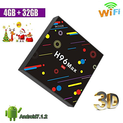 Android 7.1 TV Box - Smart TV Box with Quad Core  H96 MAX Amlogic RK3328 4G RAM 32G ROM H.265 64 Bit WiFi Bluetooth 4.0 By Aoxun by Aoxun